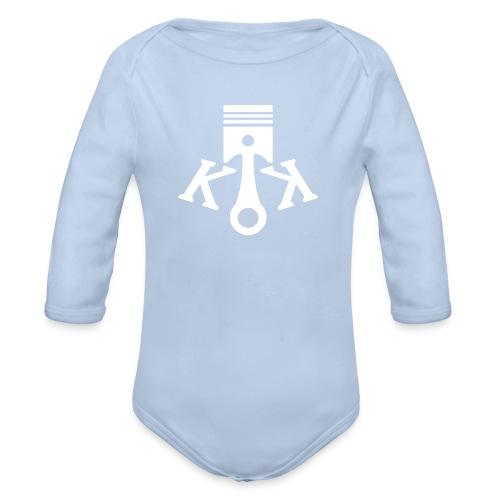 Kolbenkipper Logo weiß - Baby Bio-Langarm-Body