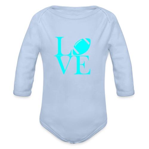 Love Symbol mit Football - Baby Bio-Langarm-Body