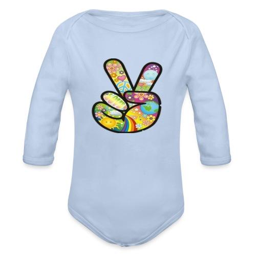 peace - Baby bio-rompertje met lange mouwen