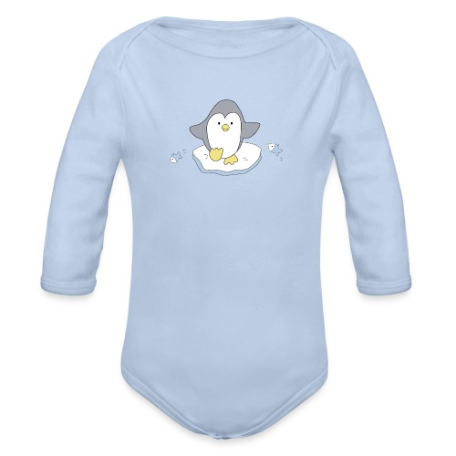 Penguin and fish - Organic Longsleeve Baby Bodysuit