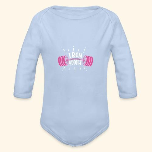 VSK Lustiges GYM Shirt Iron Addict - Baby Bio-Langarm-Body