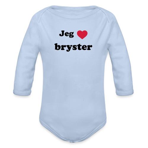 elsker bryster - Langærmet babybody, økologisk bomuld