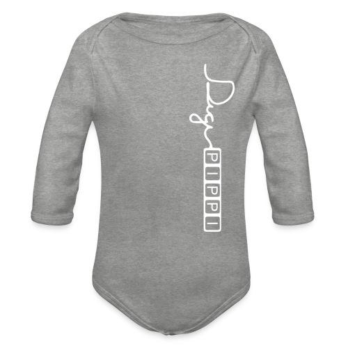 DP Logo White - Langærmet babybody, økologisk bomuld