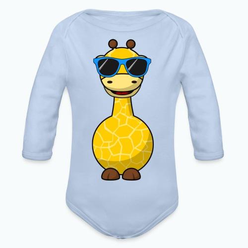 Gigi Giraffe with sunglasses - Appelsin - Ekologisk långärmad babybody