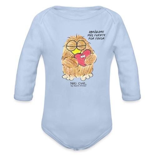 Niki Owl Abrázame Más Fuerte Por Favor - Organic Longsleeve Baby Bodysuit