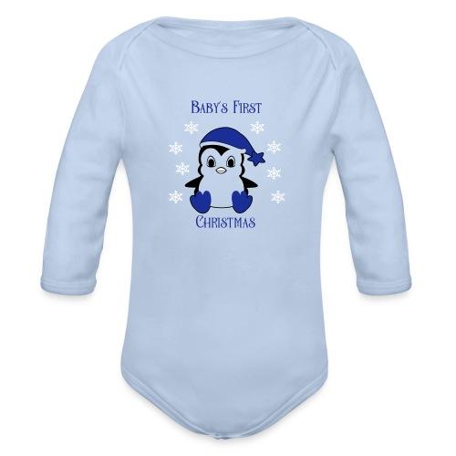 Penguin boy first christmas - Baby bio-rompertje met lange mouwen