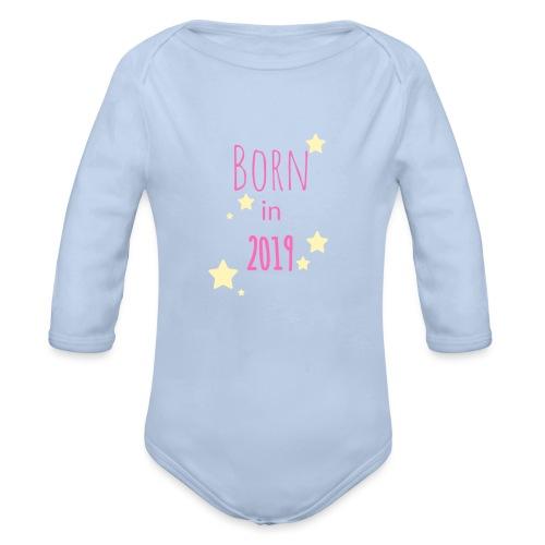 Born in 2019 Pink - Organic Longsleeve Baby Bodysuit