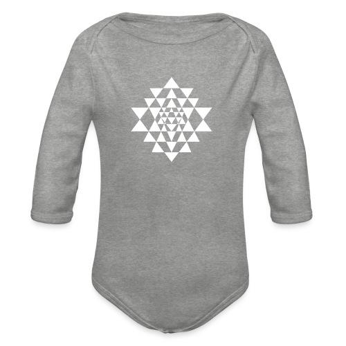 Valkoinen Shri Yantra -kuvio - Vauvan pitkähihainen luomu-body