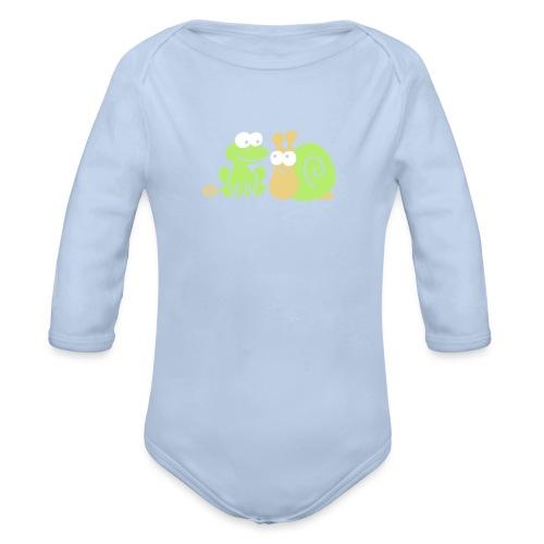 Frosch und Schnecke (c2) Freundschaft - Baby Bio-Langarm-Body