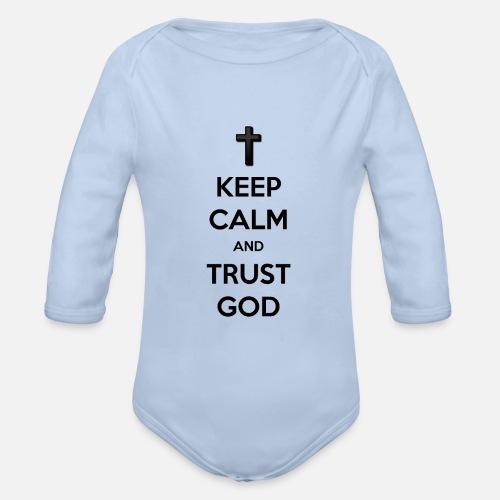 Keep Calm and Trust God (Vertrouw op God) - Baby bio-rompertje met lange mouwen