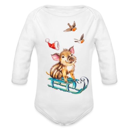 biggetje op slee - Organic Longsleeve Baby Bodysuit