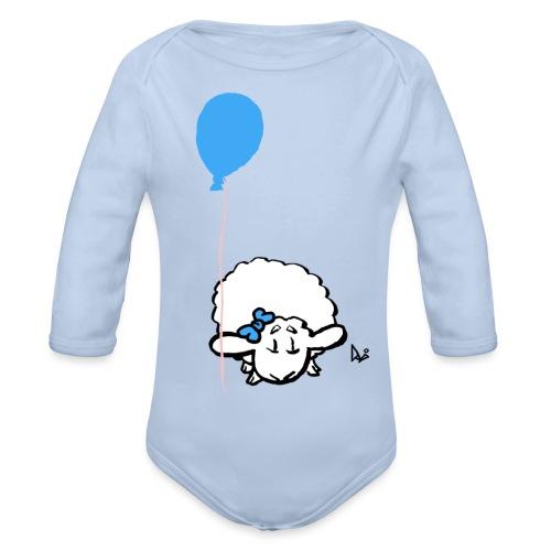 Baby Lamm mit Ballon (blau) - Baby Bio-Langarm-Body