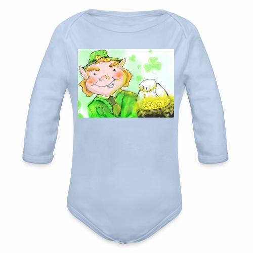 lenny the leprechaun - Organic Longsleeve Baby Bodysuit