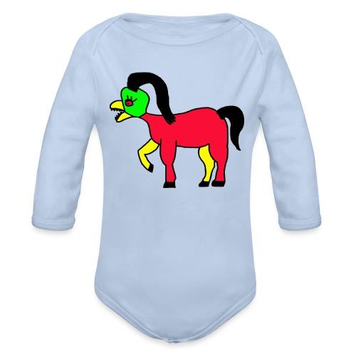 Vogel Pferd Verrückt - Baby Bio-Langarm-Body
