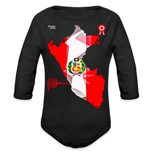 Mapa del Perú, Bandera y Escarapela - Body orgánico de manga larga para bebé