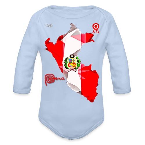 Mapa del Peru, Bandera y Escarapela - Body Bébé bio manches longues