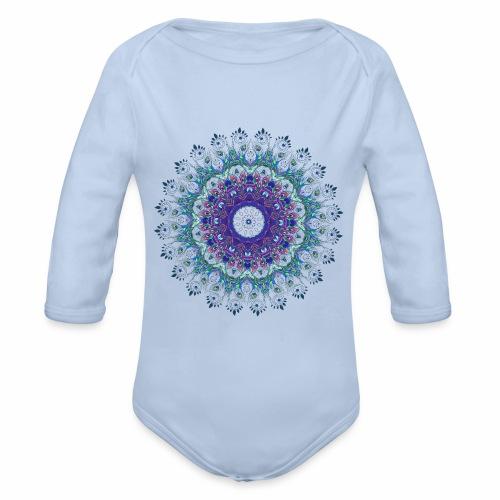 Mørk lilla mandala - Langærmet babybody, økologisk bomuld