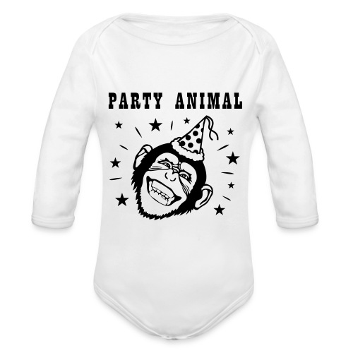 Party Monkey - Baby bio-rompertje met lange mouwen