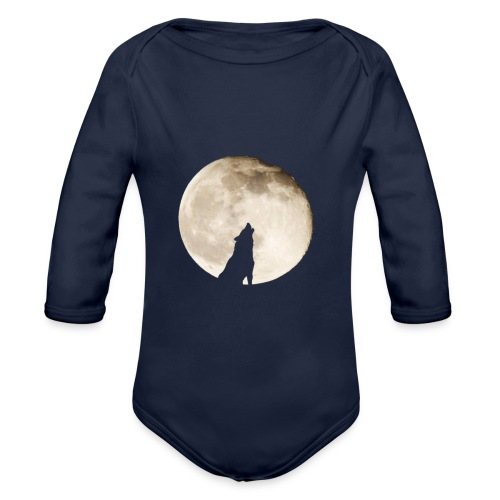 The wolf with the moon - Body Bébé bio manches longues