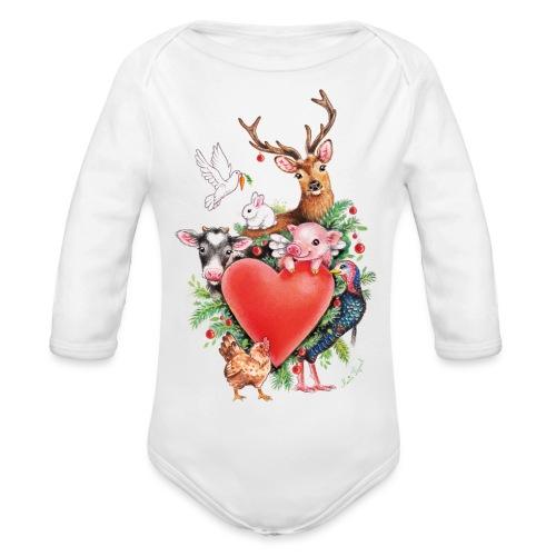 Christmas heart by Maria Tiqwah - Organic Longsleeve Baby Bodysuit