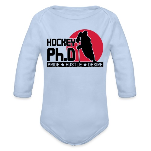hockey_phd_new_vectorized - Organic Longsleeve Baby Bodysuit