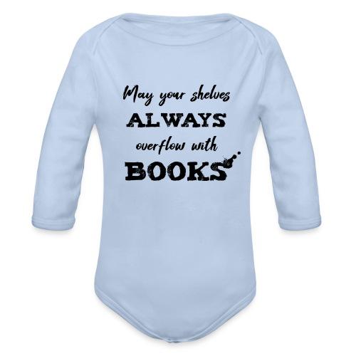 0040 Always full bookshelves | Bücherstapel - Organic Longsleeve Baby Bodysuit