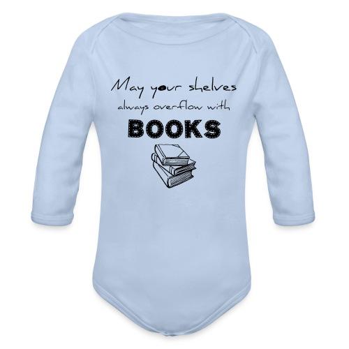 0033 Full Bookshelf | High stack of books | Read - Organic Longsleeve Baby Bodysuit