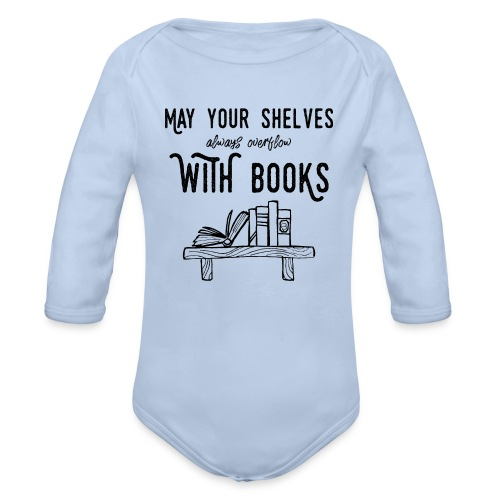 0036 bookshelf | Stack of books | Book | Read - Organic Longsleeve Baby Bodysuit