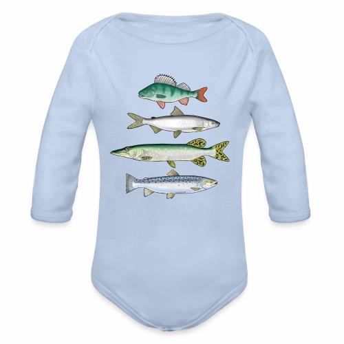 FOUR FISH - Ahven, siika, hauki ja taimen tuotteet - Vauvan pitkähihainen luomu-body