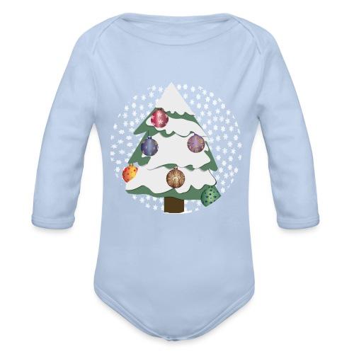 Christmas tree in snowstorm - Organic Longsleeve Baby Bodysuit