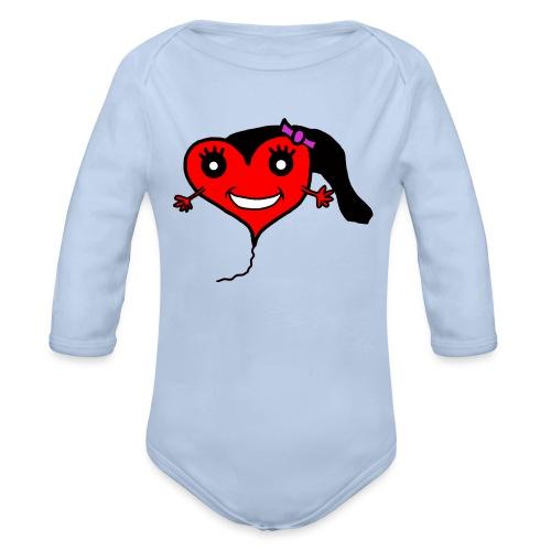 Herz Smiley Geburtstag - Baby Bio-Langarm-Body