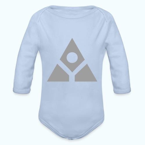 Sacred geometry gray pyramid circle in balance - Organic Longsleeve Baby Bodysuit