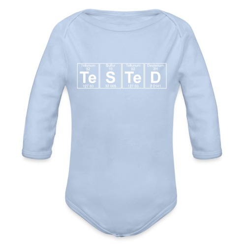 Te-S-Te-D (tested) (small) - Organic Longsleeve Baby Bodysuit