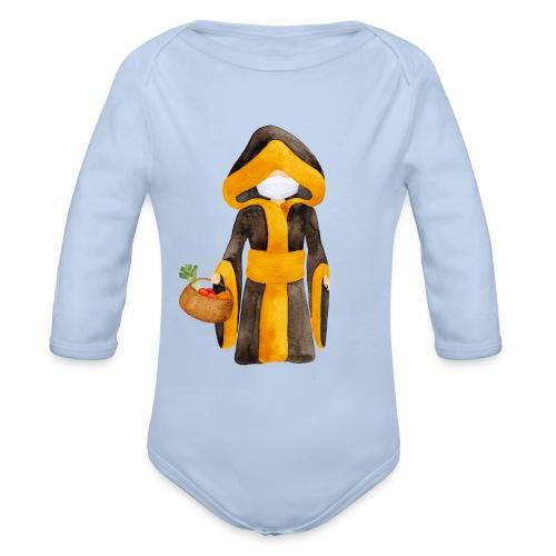 Münchner Kindl mit Maske und Einkaufskorb - Baby Bio-Langarm-Body