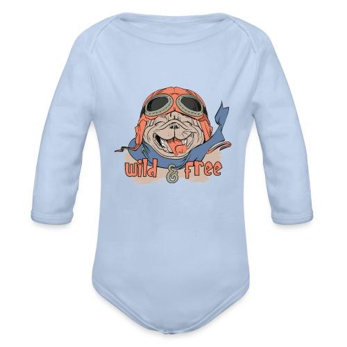 Wild & Free: Happy Pug Flier Freedom - Organic Longsleeve Baby Bodysuit