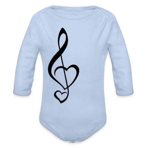 Notenschlüssel schwarz/Music-Lover - Baby Bio-Langarm-Body