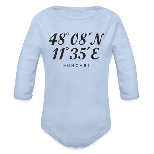 Münchener Koordinaten (Schwarz) München - Baby Bio-Langarm-Body