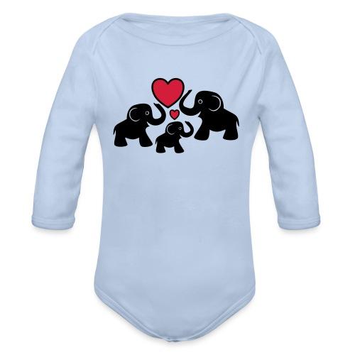 Zu dritt Elefanten Familie Mama Papa Baby Herz - Baby Bio-Langarm-Body