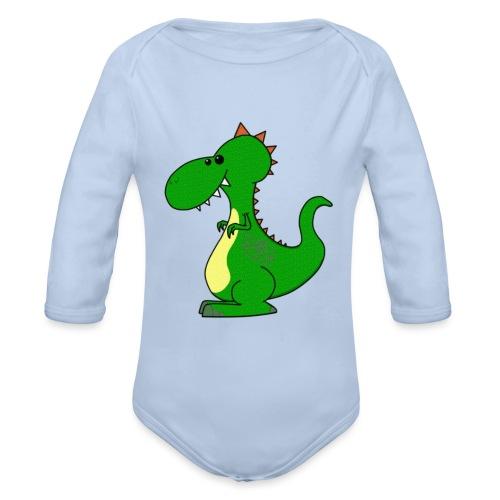 Dino Dragon - Langærmet babybody, økologisk bomuld