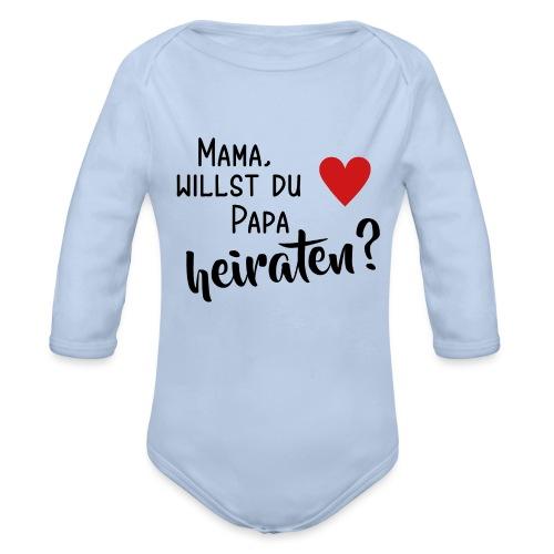 Mama Papa heiraten Baby Body Antrag Hochzeit - Baby Bio-Langarm-Body