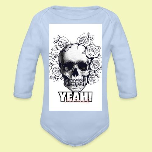 YEAH Skull KIssen - Baby Bio-Langarm-Body