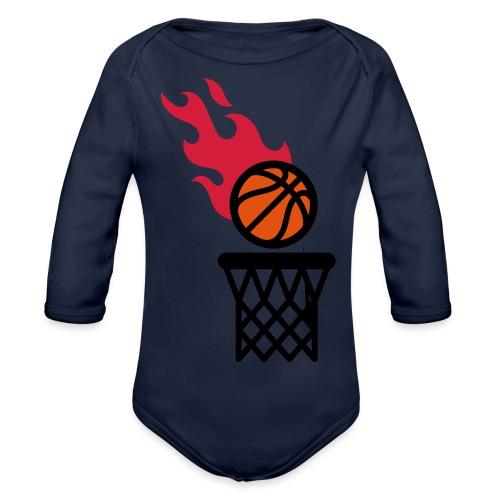 fire basketball - Organic Longsleeve Baby Bodysuit
