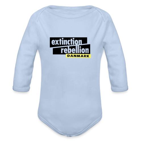 Extinction Rebellion Danmark SORT logo - Langærmet babybody, økologisk bomuld