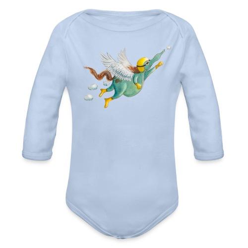 Windpferd mit weißem Logo - KlingBim - Baby Bio-Langarm-Body