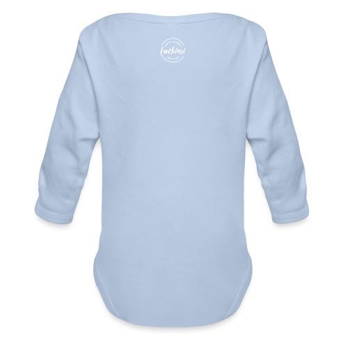 Luckimi logo circle small white back - Kids - Organic Longsleeve Baby Bodysuit