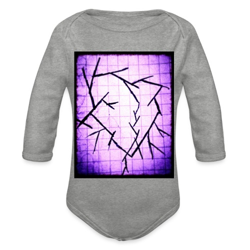 Purple broken heart - Langærmet babybody, økologisk bomuld