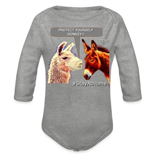 Protect Yourself Donkey - Coronavirus - Body orgánico de manga larga para bebé
