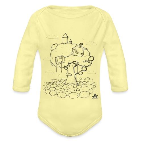 Cabane dans un arbre Sketch Line - Body Bébé bio manches longues