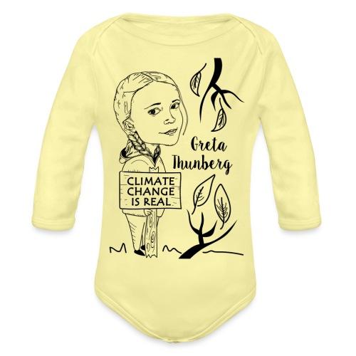 climate change is real - Organic Longsleeve Baby Bodysuit