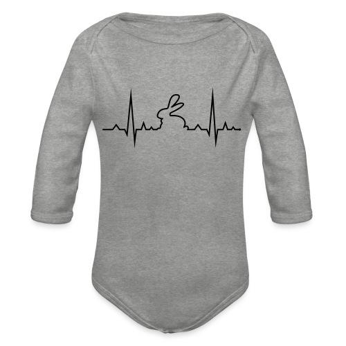 EKG Herzschlag Hase Kaninchen Zwergkaninchen - Baby Bio-Langarm-Body